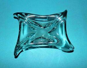 cendrier vintage en verre soufflé épais bleu vert poids 830 gr
