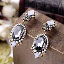 Bling Classic Diamond Crystal Earrings Wedding Oval Drop Jewelry Gothic Square