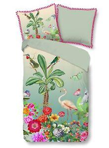 Heckett /& Lane Satin Bettwäsche 135x200 Mao Bridal Pink Kraniche Vögel