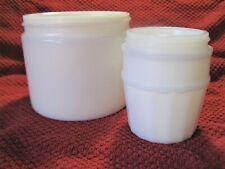 Vintage Milk Glass Dug Large Ladies Cold Creme Beauty Jars Collectibles