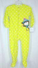 Girls Carters Lime Green Monkey Polka Dot Footed Pajamas sz 4T PJs
