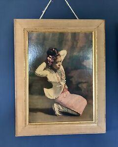 Vintage Gerald Kelly Print Burmese Dancer In Pink Tretchikoff Era c1950s (2/2)