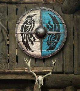 Mittelalterlicher Eivor Valhalla Shield Authentischer Battleworn Wikingerschild