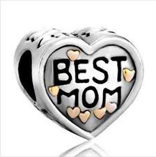 Charm Beads Best Mom Daughter Love Heart for European Bracelet Perfect Gift