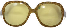 LARGE GOLD FRAMED PARTY GLASSES WITH YELLOW LENSES - FUN FANCY DRESS