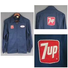 Vintage 1960s 7-Up Uniform Work Jacket Blue Unitog Chest & Back Patch Workwear