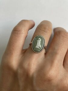 English Sterling Wedgewood Cameo ring Hallmarked size 6