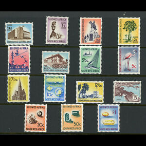 SOUTH WEST AFRICA 1961-63 Set of 15 Values. SG 171-185. M. Hinge Remains (WB804)