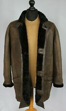 Shearling Nappa Leather Vintage Sheepskin Jacket Brown 48R HAND MADE L092