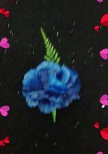 1XNEW ROYAL BLUE SILK CARNATION/FERN   BUTTONHOLE+PIN..WEDDING .GUEST.OCCASION