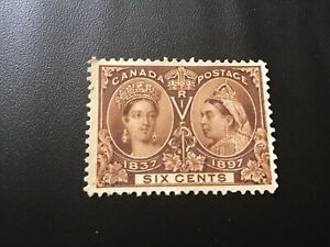 "JPS_Stamps! #55... ""Diamond Jubilee, 6¢ yellow brown"" (mint, no gum)"