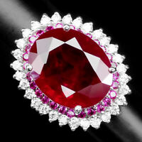 PIGEON BLOOD RED RUBY 23.70 CT.SAPPHIRE 925 STERLING SILVER JEWELRY RING SZ 6.25
