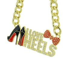 "GOLD PLATED RHINESTONE & ENAMEL NECKLACE ""I LOVE HEELS"" - FREE UK P&P.....CG1769"