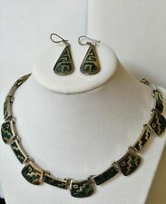 Necklace & Earrings 107 Grams Vintage Silver Taxco Mexico Malachite Panel
