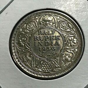 1936-C BRITISH INDIA SILVER 1/2 RUPEE NEAR UNCIRCULATED COIN