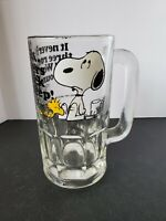 Vintage 1960s Snoopy & Woodstock Glass Mug - Root Beer - Peanuts Nice Condition!