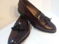 JOHNSON & MURPHY MEN'S LEATHER KILTIE TASSEL SHOES, SIZE 9M,CORDOVAN ,LOAFER