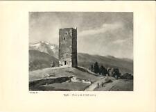 Stampa antica TEGLIO Torre Valtellina Sondrio 1934 Old antique print