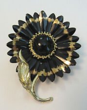 VINTAGE 1960s MOD ENAMEL FLOWER BROOCH BLACK GOLD LEAF PIN