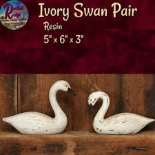 Primitive Distressed Country Ivory Swans Goose Pair Farmhouse Tabletop Decor