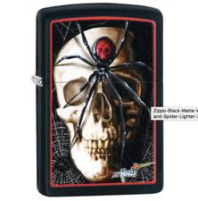 New Original Zippo Lighter - Mazzi Black Matte Skull and Spider