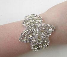 Silver White Bridal Bracelet Diamante Art Deco Bead Satin Cuff Jewellery 1044