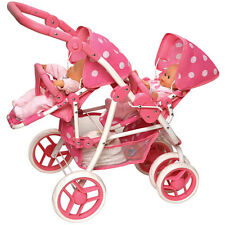 Baby Double Doll Stroller Pink Pretend Play Toys Pram Mommy Carrier Girl New