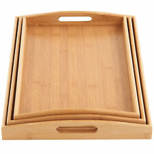 VonShef Wooden Serving Tray Set of 3 Natural Bamboo Platters Breakfast Trays