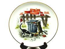 New listing Alley Cats Vintage Gold Rim Porcelain Plate signed art Monika Heller Cole Cute
