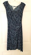 STUDIO M   Turquoise & Black  Geometric Chevron Print   Slinky Knit Dress  XS