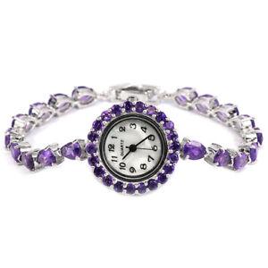 Watch Purple Amethyst Genuine Natural Gemstones Sterling Silver 7 1/4 Inch