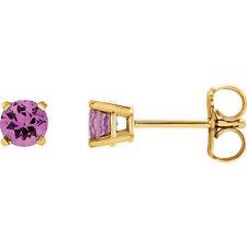 Pink Sapphire Earrings In 14K Yellow Gold (4.00mm)