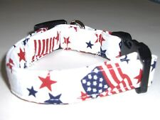 Handmade White Patriotic Dog Collar - Small/Medium - Made in the USA