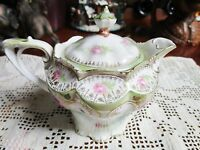 RS Prussia molded, CREAMER / SYRUP PITCHER gold FLORAL