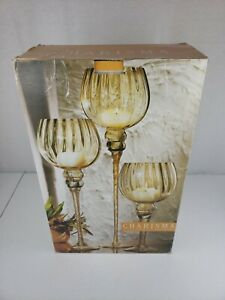 Charisma 24 Karat Gold Painted Luster Amber Candles 3 Hurricanes Home Essentials