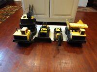 Vintage Tonka Metal Press Steel Set of 4 Dump Truck Crane Toy Yellow Sold As IS