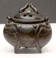 19th C. Antique BUDDHIST TEMPLE Cast Bronze Turtle CHINESE INCENSE BURNER Censer