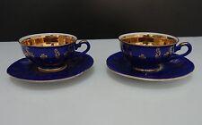 BAVARIA, Paire de tasse et sous-tasses (bleues et dorées)