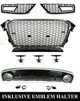 Pour Audi A4 B8 12-16 RS4 Look Calandre Nid D'Abeille + Diffuseur Sport #02