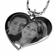 Personalized Custom Heart Shape Photo ID/Dog Tag Pendant & Necklace/Chain