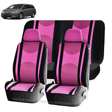 PINK & BK HONEYCOMB AIRBAG READY SPLIT BENCH SEAT COVERS 6PC SET FOR VANS 1140