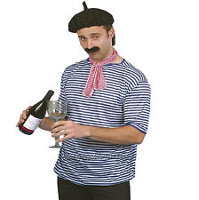 French Man Kit Stripe Top Black Beret Scarf Tash Mens Fancy Dress Costume Waiter