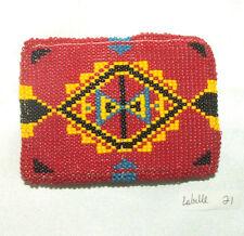 "Belt Buckle Native American Beadwork Red Geometric 3.5x2.5"" New #21"