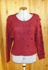 SOUTH burgundy red chunky knitted WOOL bobble long sleeve jumper top 10 38