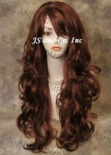 Wavy Curly Red Layered wig with bangs STRIKING! Long , Stunning win 130