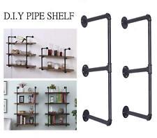 2 Tier Industrial Wall Shelf Bracket Hanging Storage Shelves Iron Pipe Black