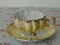Castle Japan Antique Teacup & Saucer Yellow Lusterware 3 Foot Scalloped