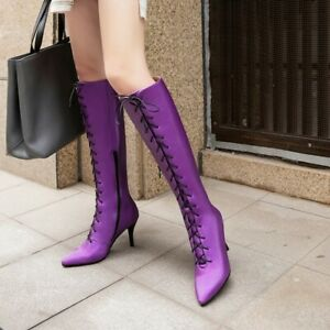 Womens Chic Pointy Toe Lace Up Knee High Boots Kitten Mid Heels Riding Boot C105