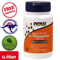 Now Foods L-Theanine Double Strength 200 mg 60 Vegan Capsules - Non-GMO