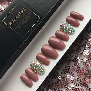 Hand Painted False Nails Pink Nude Diamonds Medium Coffin Shape